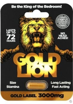 Gold Lion Male Enhancement Pill 3000 MG 24 Single Packs Per Counter Display