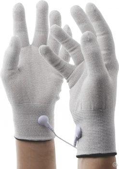 Zeus Electrosex Awaken Uni-Polar E-Stim Gloves Conductive Fiber Material White