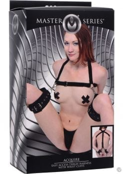 Master Series Acquire Easy Access Thigh Harness With Wrist Cuffs Black And Metal
