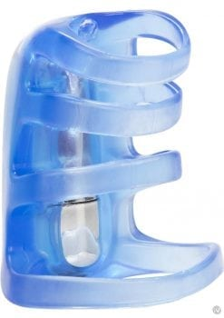 Couples Pleasure Cage Cockring Waterproof Blue