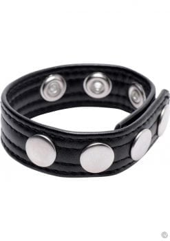 Strict Speed Snap Cock Ring Leather And Metal Black