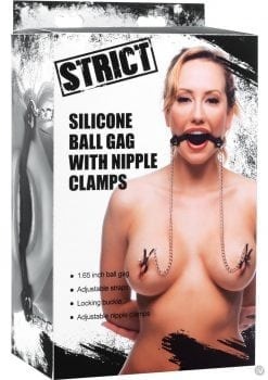 Strict Ball Gag with Nipple Clamps Silicone Black And Silver