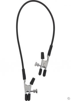 Blackline Adjustable Alligator Nipple Clamps With Rubber Tether Black