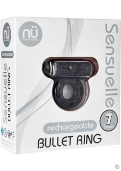 Nu Sensuelle Bullet Ring 7 Function Silicone Rechargeable C Ring Waterproof Black