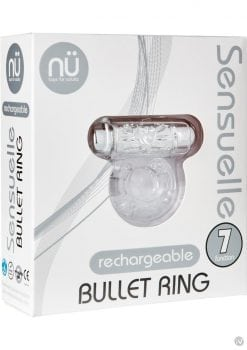 Nu Sensuelle Bullet Ring 7 Function Silicone Rechargeable C Ring Waterproof Clear