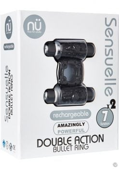 Nu Sensuelle Double Action 7 Function Silicone Rechargeable Bullet Ring Waterproof Black