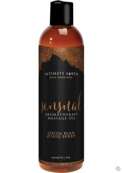 Intimate Earth Sensual Aromatherapy Massage Oil Cocoa Bean and Goji Berry 8 Ounce