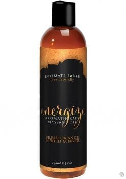 Intimate Earth Energize Aromatherapy Massage Oil Fresh Orange and Wild Ginger 8 Ounce
