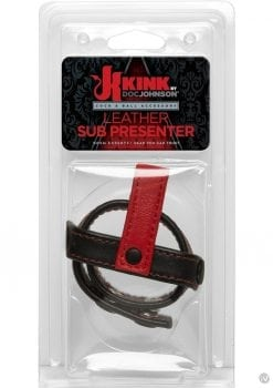 Kink Leather Sub Presenter Cock and Ball Accessory Black And Red