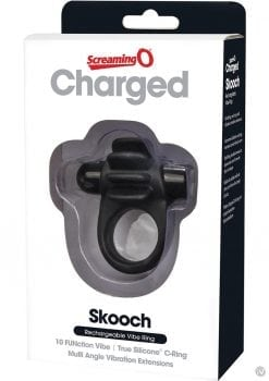 Charged Skooch Rechargeable Vibe Silicone Cock Ring Waterproof Black
