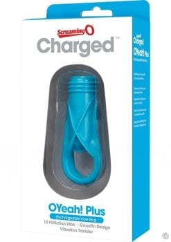 Charged OYeah Plus USB Rechargeable Cock Ring Waterproof Blue