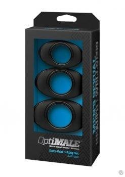 Optimale Easy Grip C-Ring Set Silicone 3 Each Per Set Black