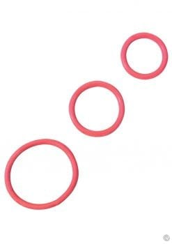 Rubber Cock Ring Set 3 Sizes Per Pack Red