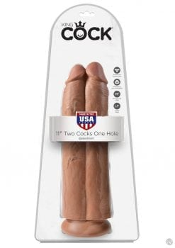 King Cock Two Cocks One Hole Realistic Dildo Tan 11 Inch