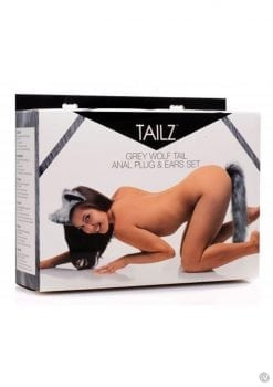 Tailz Grey Wolf Tail Silicone Anal Plug And Ears Set