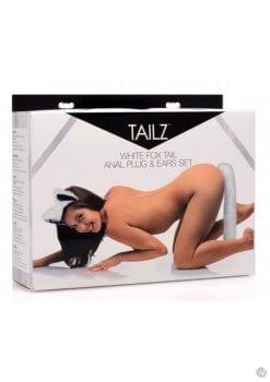Tailz White Fox Tail Silicone Anal Plug And Ears Set