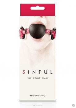 Sinful Silicone Gag With Vinyl Adjustable Straps Black And Pink