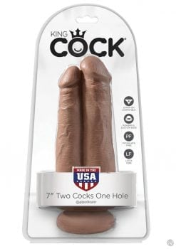 King Cock Two Cocks One Hole Realistic Dildo Tan 7 Inch