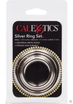 Silver Cock Rings 3 Piece Set Silver