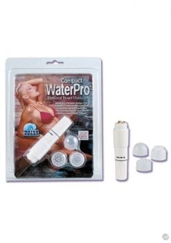 Compact Waterpro Personal Travel Massager with 4 Interchangeable Heads