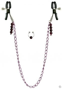 Nipple Clamps with Purple Chain Non Piercing