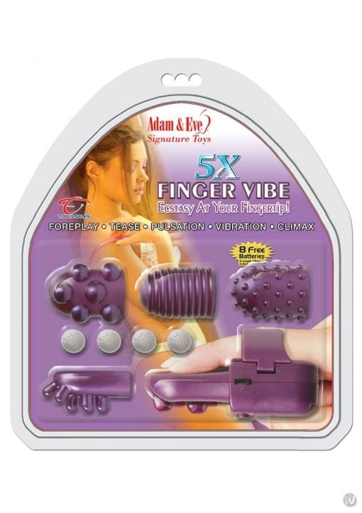 Adam and Eve 5X Finger Vibe Kit Purple
