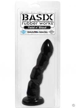 Basix Twist N Shout Dong 7 Inch Suction Cup Black