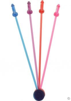 Naughty Cocktail Stirrers 16 Per Pack Assorted Colors