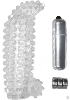 Studded Cock Teaser Penis Extension Sleeve Waterproof Clear