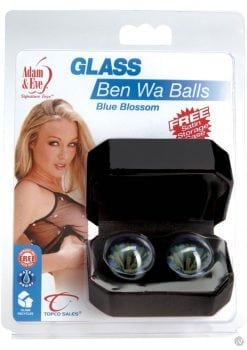 Adam And Eve Glass Ben Wa Balls Blue Blossom Waterproof