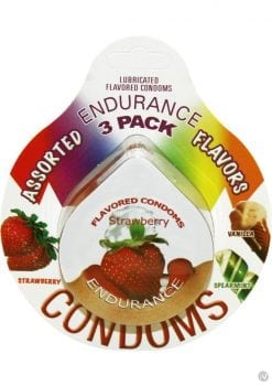 Lubricated Flavored Endurance Condoms 3 Per Pack Assorted Flavors