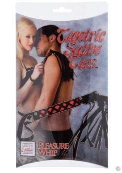 Tantric Satin Ties Pleasure Whip Black with Red