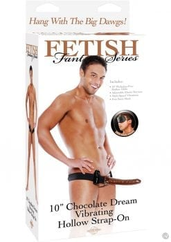 Fetish Fantasy Series Chocolate Dream Vibrating Hollow Strap On Brown 10 Inch