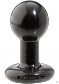 Round Butt Plug Small 3 Inch Black
