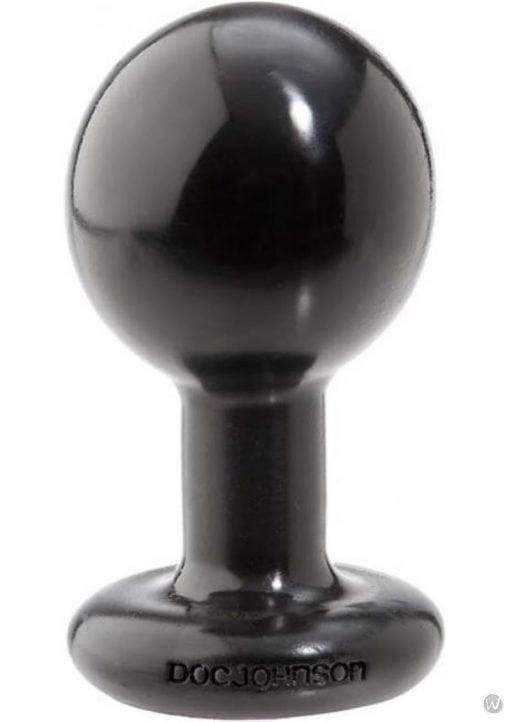 Round Butt Plug Medium 3.5 Inch Black