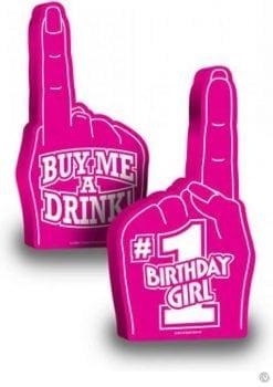 Number 1 Birthday Girl Foam Finger 18 Inch Pink