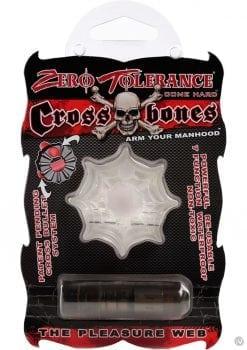 Zero Tolerance Cross Bones The Pleasure Web Cock Ring With Single Bullet Waterproof Clear
