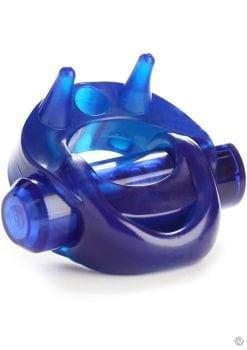 Zero Tolerance Cross Bones The Running Bull Cock Ring With Single Bullet Waterproof Blue