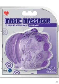 Magic Massager Swirl And Lip Pleasure Attachment Waterproof Purple