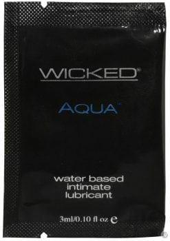 Wicked Aqua Water Based Lubricant Unscented Foil Packs 144 Per Bag