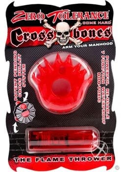 Zero Tolerance Cross Bones The Flame Thrower Cock Ring With Single Bullet Waterproof Red