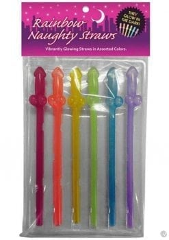 Gitd Rainbow Naughty Straws 6pk