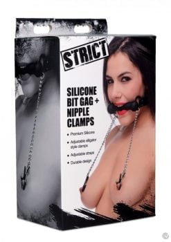 Strict Bit Gag With Nipple Clamps Black