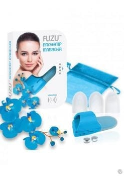 Fuzu Silicone Fingertip Massager With Textured Tips Blue