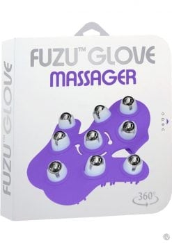 Fuzu Glove Massager features  360 degree rolling balls  Length 6 Inches  Purple