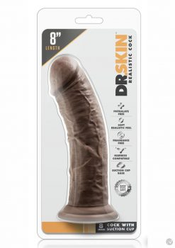 Dr. Skin Realistic Cock With Suction Cup Chocolate 8 Inch