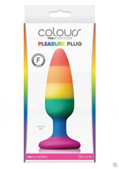 Colours Pride Ed Pleasure Plug Silicone Medium Anal Plug Multi Color Silicone Non Vibrating