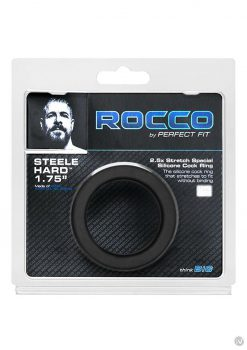The Rocco Steele Hard 1.75 Black Cockring Non Vibrating Silicone