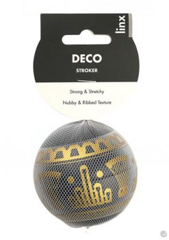 Linx Deco Stroker Ball Masturbator Nubby and Ribbed Textured Waterproof Black