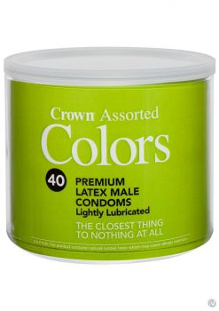 Crown Assorted Colors 40 Premium Latex Condoms Lightly Lubricated  Bowl